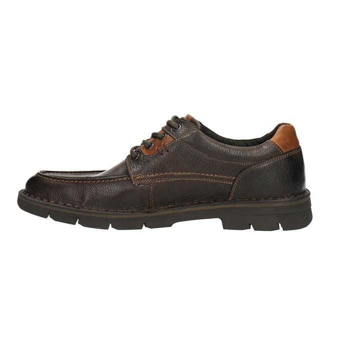 Kožené ležérní polobotky na výrazné podešvi bata, hnědá, 824-4696 - 26