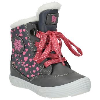 Dětská zimní obuv se srdíčky bubblegummer, šedá, 199-2600 - 13