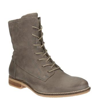 Kožená kotníčková obuv se zateplením bata, šedá, 596-2610 - 13
