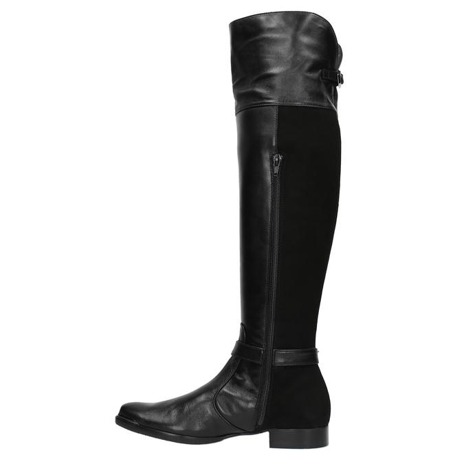 Dámské kožené kozačky mušketýrky classico-and-bellezza, černá, 594-6005 - 19