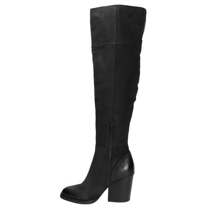 Kožené kozačky nad kolena na masivním podpatku bata, černá, 696-6611 - 19