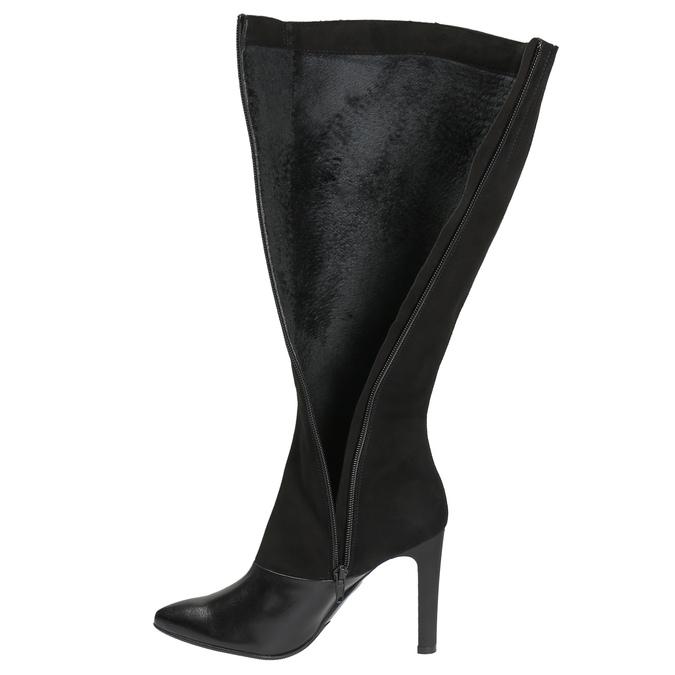 Dámské kožené kozačky classico-and-bellezza, černá, 593-6001 - 19