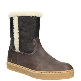 Kožená zimní obuv s kožíškem weinbrenner, hnědá, 596-8628 - 13