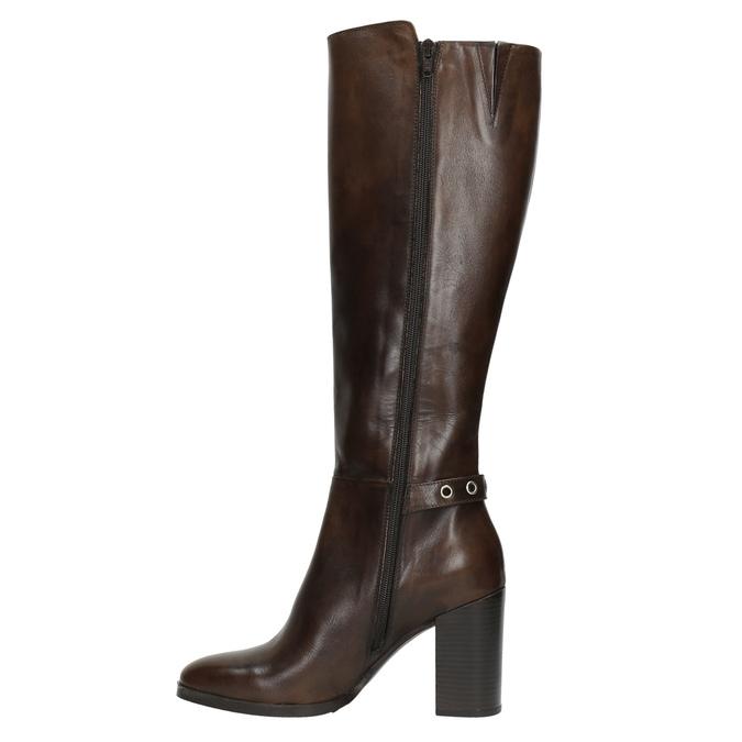 Kožené kozačky na podpatku bata, hnědá, 794-4637 - 26