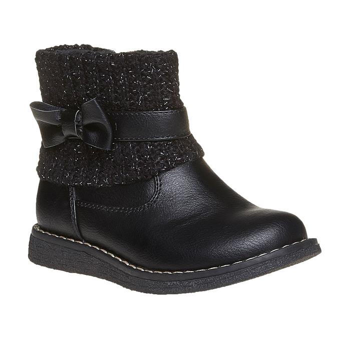 Dětská obuv s úpletem mini-b, černá, 291-6154 - 13