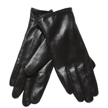 Dámské kožené rukavice s perforací bata, černá, 904-6114 - 13