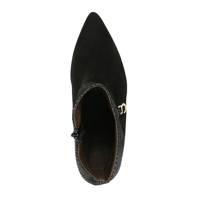 Kožené kotníčkové kozačky na jehlovém podpatku bata, černá, 796-6640 - 19