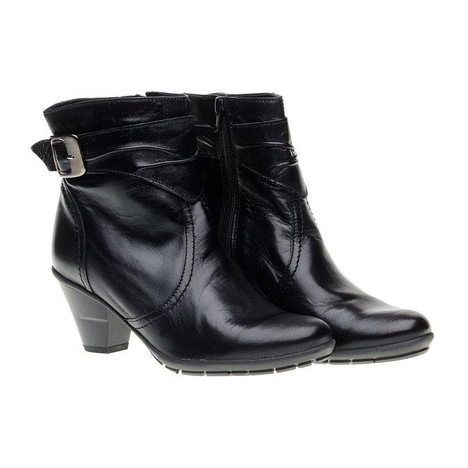 Kožená kotníčková obuv na zkoseném podpatku bata, černá, 694-6130 - 26