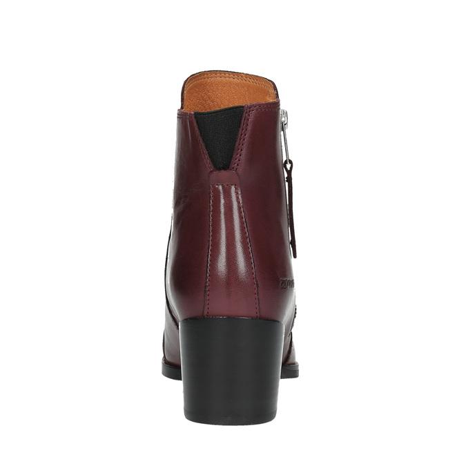 Kožená kotníčková obuv se zipem ten-points, červená, 714-5001 - 17