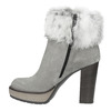 Kožená kotníčková obuv s pravým kožíškem manas, šedá, 793-2603 - 19