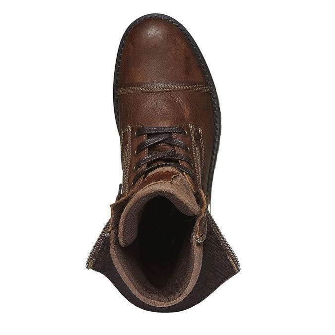 Kožené kotníkové boty se zipy bata, hnědá, 894-4102 - 19