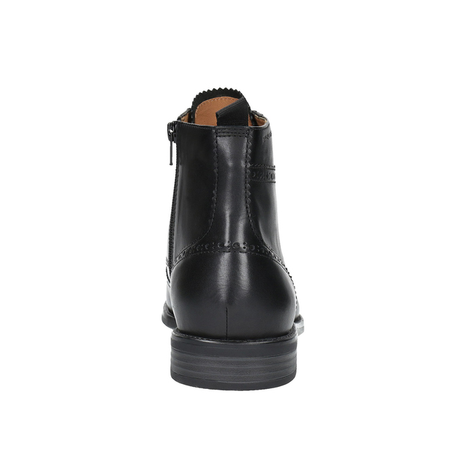 Kožená kotníčková obuv s Brogue zdobením vagabond, černá, 894-6003 - 17