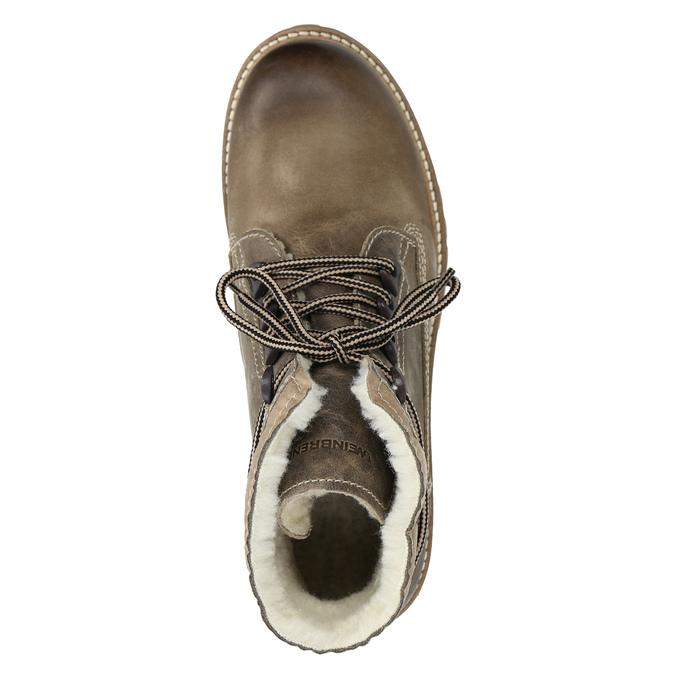 Kožená zimní obuv s kožíškem weinbrenner, šedá, 594-2491 - 15