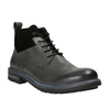 Kožená kotníčková obuv s Brogue zdobením bata, šedá, 896-2646 - 13