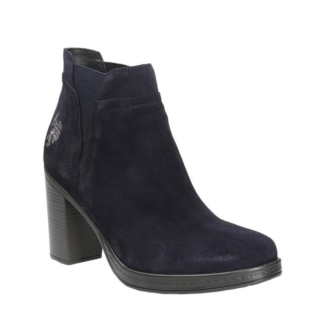 Kožená kotníčková obuv na podpatku u-s-polo-assn-, modrá, 713-9072 - 13