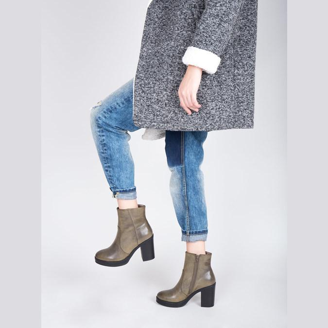 Kotníčková obuv na širokém podpatku bata, hnědá, 791-3601 - 18