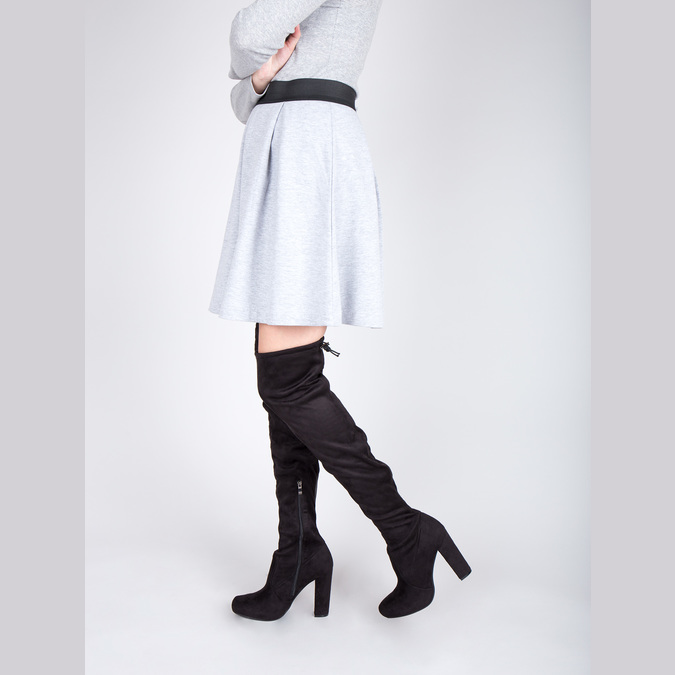 Kozačky nad kolena na podpatku bata, černá, 799-6605 - 18