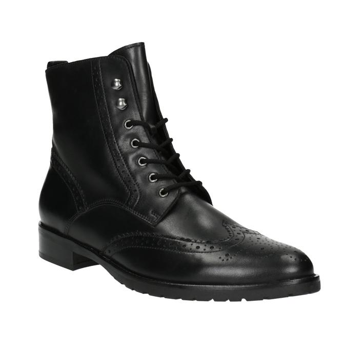 Kožená kotníčková obuv šněrovací gabor, černá, 694-6016 - 13