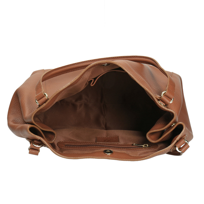 Hnědá kožená kabelka bata, hnědá, 964-3215 - 15