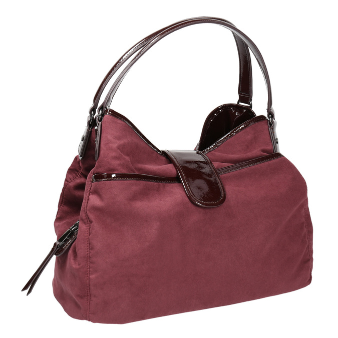 Vínová kabelka s lakovanými detaily bata, fialová, 969-5209 - 13
