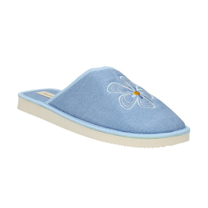 Dámská domácí obuv s kytičkou bata, modrá, 579-9605 - 13
