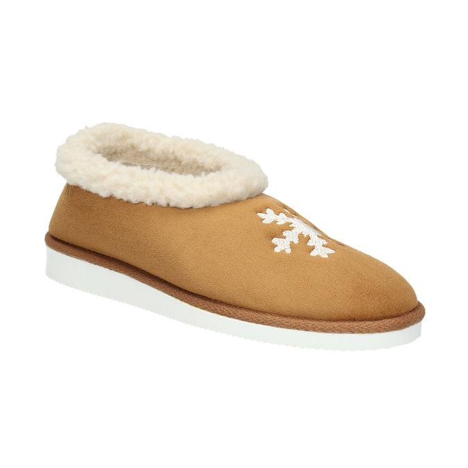 Domácí pantofle s umělým kožíškem bata, hnědá, 579-8612 - 13
