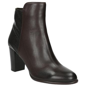 Kožená kotníčková obuv na podpatku gino-rossi, hnědá, 714-4010 - 13