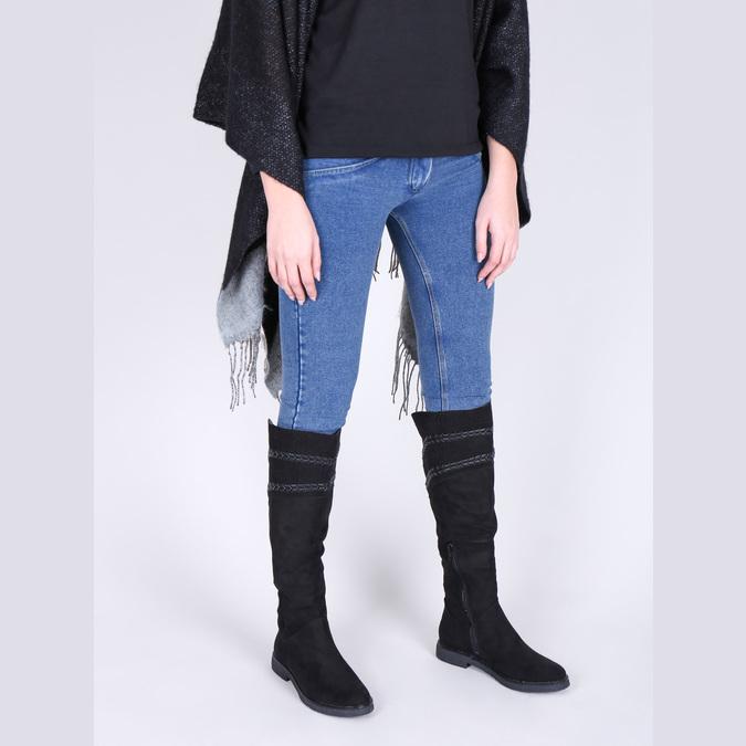 Dámské kozačky nad kolena černé bata, černá, 599-6602 - 18