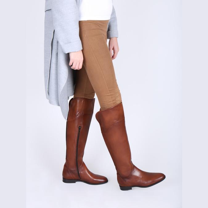 Hnědé kožené kozačky ke kolenům bata, hnědá, 594-4605 - 18