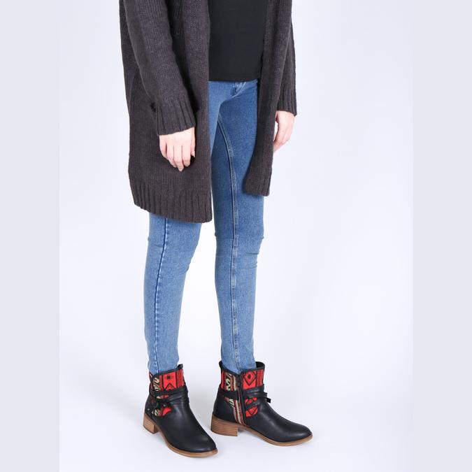 Kotníčková obuv s Etno vzorem bata, černá, 599-6604 - 18