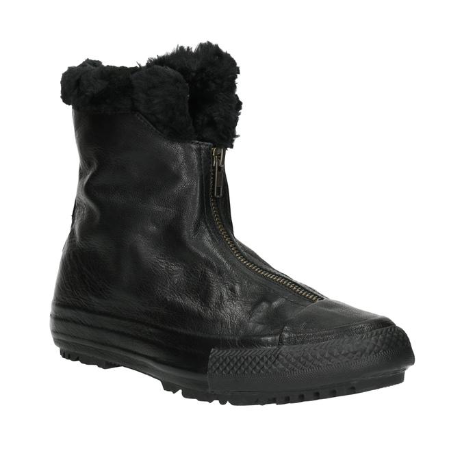 Kožená kotníčková obuv se zateplením converse, černá, 596-6083 - 13