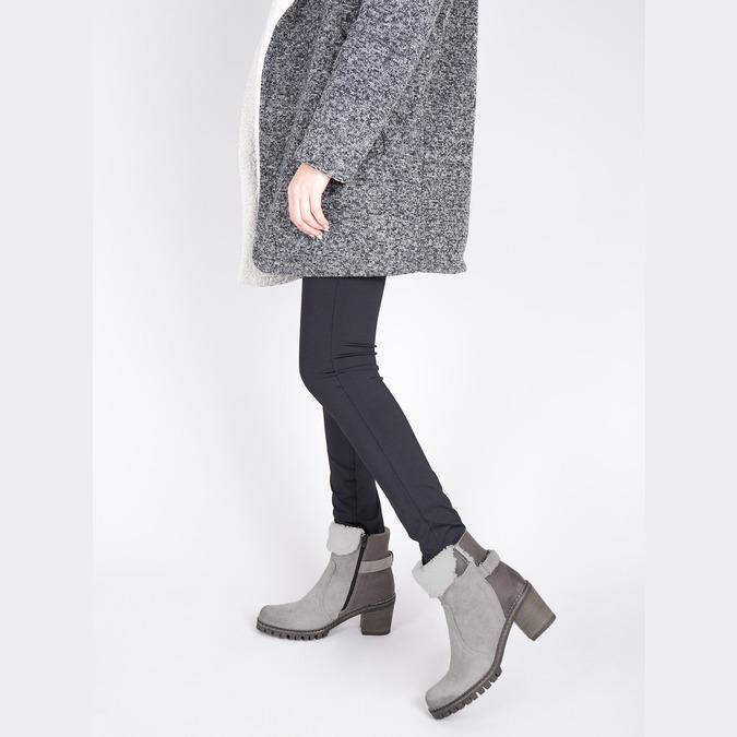 Kožená kotníčková obuv s kožíškem manas, šedá, 696-2602 - 18