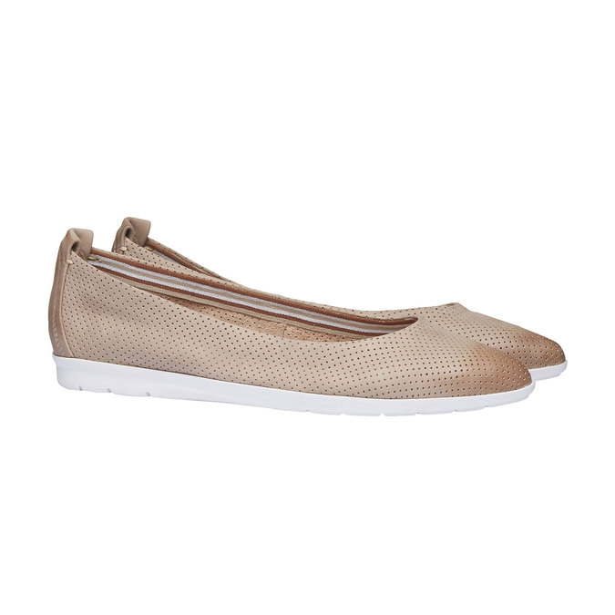 Kožené baleríny s perforací bata, béžová, 526-8486 - 26