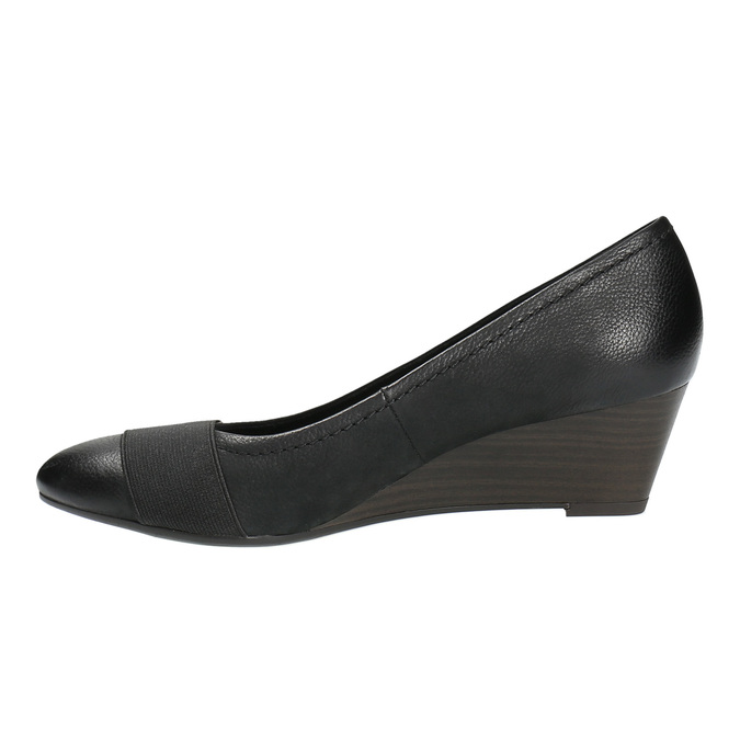 Kožené lodičky na klínovém podpatku bata, černá, 626-6603 - 26