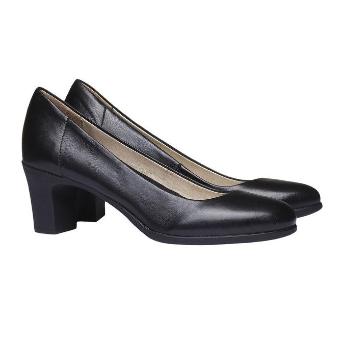 Černé kožené lodičky flexible, černá, 624-6393 - 26