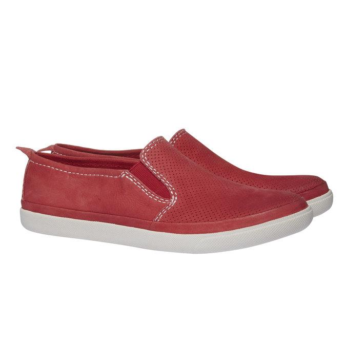 Kožené Plim Soll boty s perforací bata, červená, 514-5197 - 26