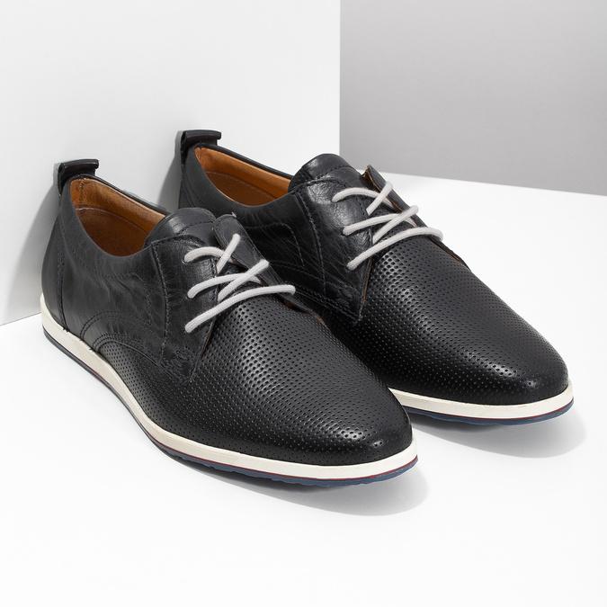Ležérní kožené polobotky bata, modrá, černá, 824-9124 - 26
