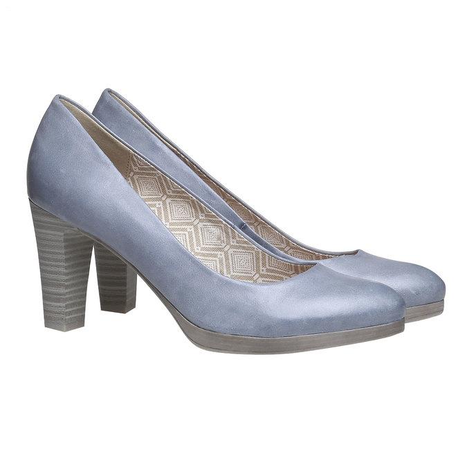 Kožené lodičky na širokém podpatku bata, modrá, 724-9948 - 26