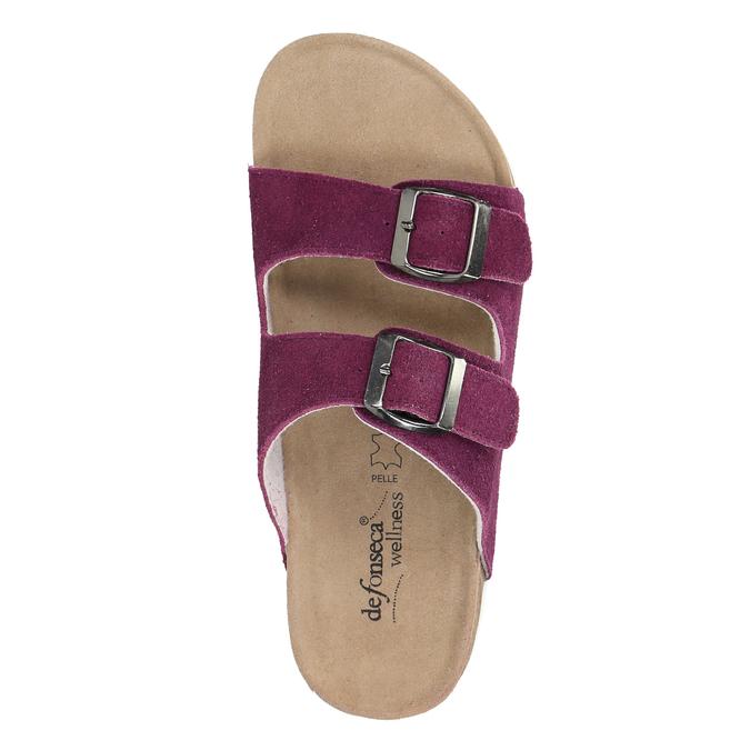 Dámské kožené pantofle de-fonseca, fialová, 573-5620 - 19