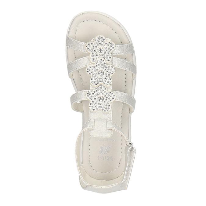 Dívčí sandály s kytičkami mini-b, bílá, 261-1161 - 19