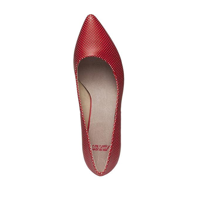 červené lodičky s perforací, červená, 621-5384 - 19