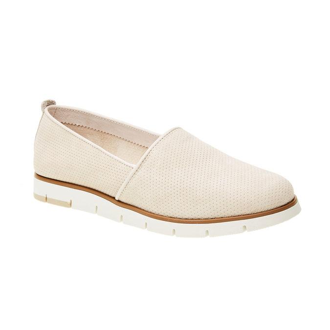 Kožené Slip-on boty s perforací flexible, béžová, 513-8200 - 13