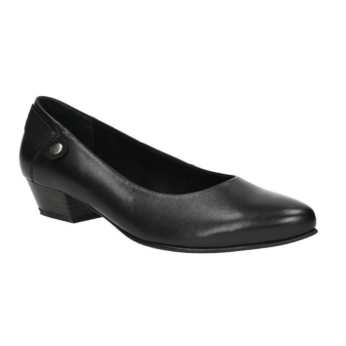 Kožené lodičky na nízkém podpatku bata, černá, 624-6603 - 13
