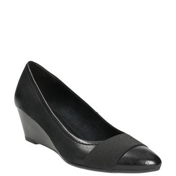 Kožené lodičky na klínovém podpatku bata, černá, 626-6603 - 13