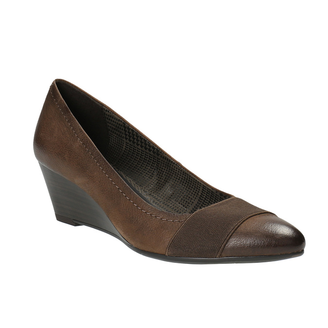 Kožené lodičky na klínovém podpatku bata, hnědá, 626-4603 - 13