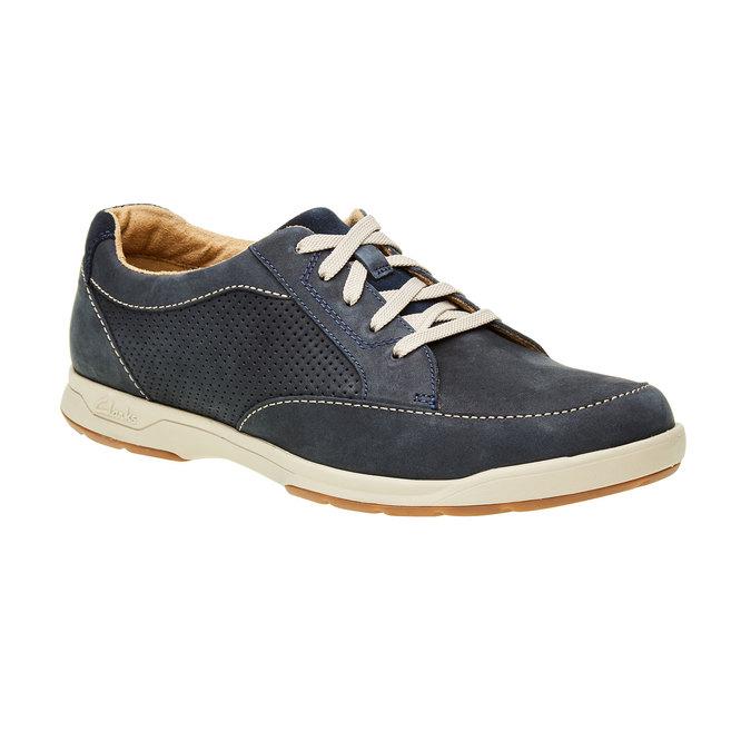 Pánská obuv z broušené kůže clarks, modrá, 826-9006 - 13