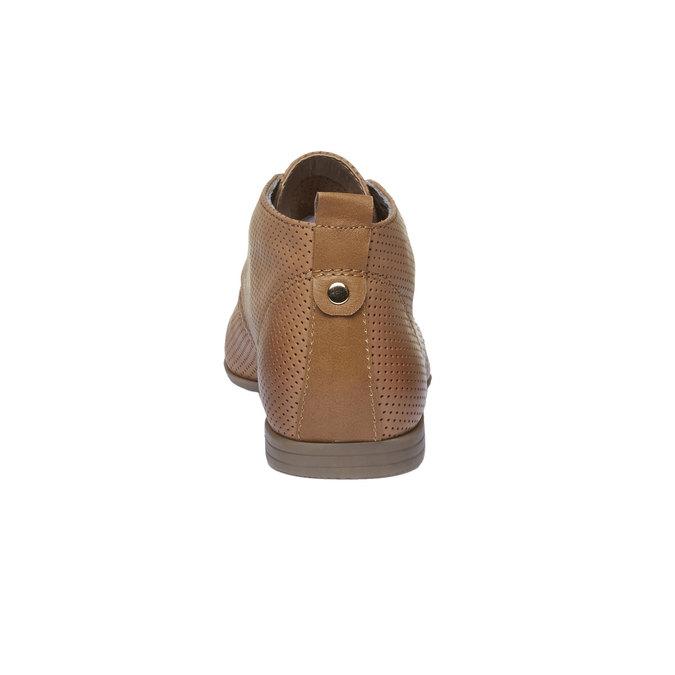 Kožené kotníčkové polobotky s perforací bata, hnědá, 526-3495 - 17
