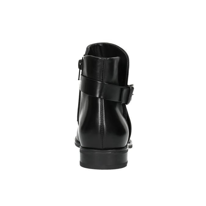 Kožená kotníčková obuv s přezkou bata, černá, 594-6602 - 17