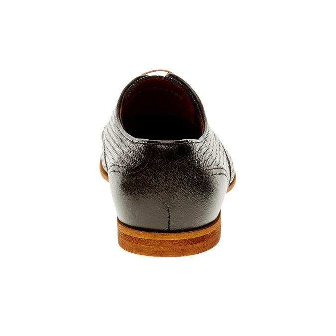 Kožené polobotky s pleteným vzorem conhpol, černá, 826-6300 - 17