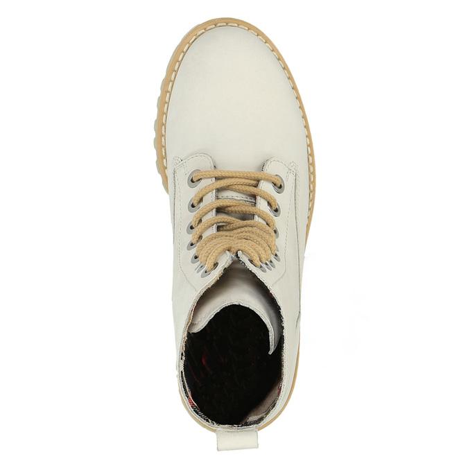 Kožená kotníčková obuv s průhlednou podešví weinbrenner, béžová, 596-1639 - 19